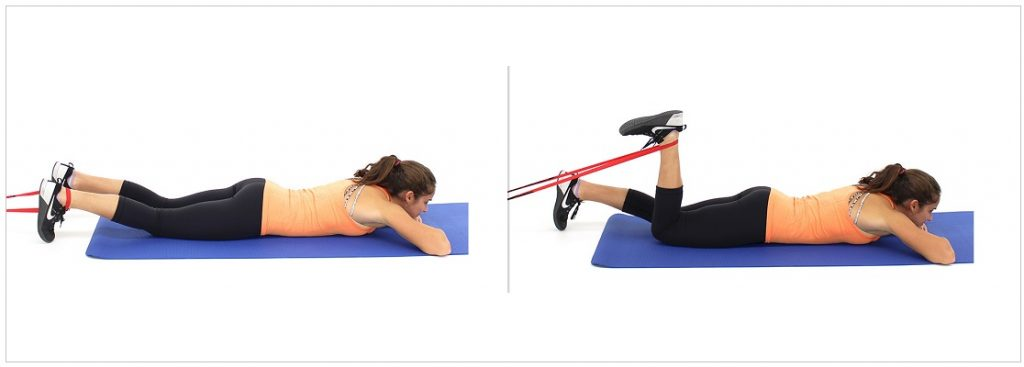Lying Hamstring Curl with resistance band