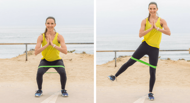 Resistance Band Squat with Leg Lift
