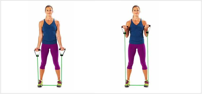 Standing Bicep Curl resistance band
